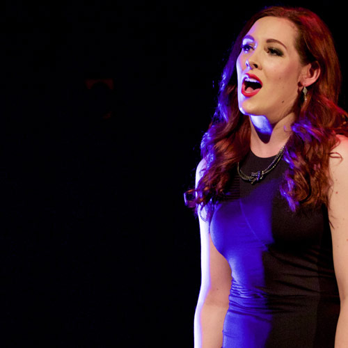 Musical Theatre student singing on stage